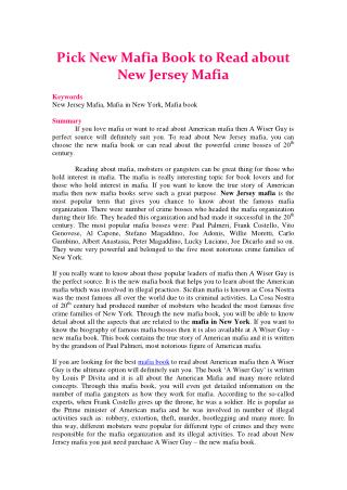 Pick New Mafia Book to Read about New Jersey Mafia