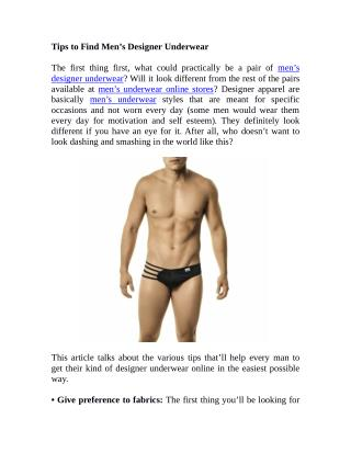 Tips to Find Men's Designer Underwear