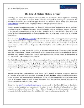 The Role Of Modern Medical Devices