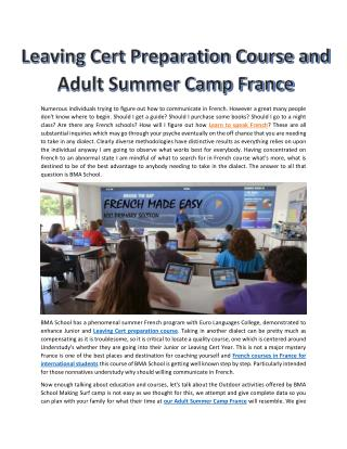 Leaving Cert Preparation Course and Adult Summer Camp France