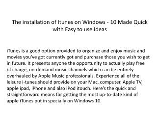 The installation of ITunes on Windows - 10 Made Quick with Easy to use Ideas