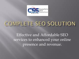 Affordable SEO Services by Complete SEO Solution