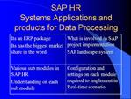 SAP HR  Systems Applications and products for Data Processing