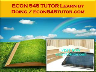 ECON 545 TUTOR Learn by Doing / econ545tutor.com