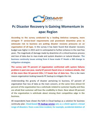 Pc Disaster Recovery is Gaining Momentum in apac Region