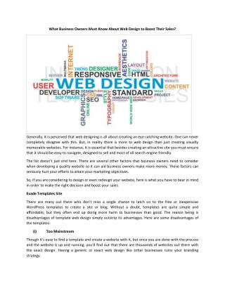 What Business Owners Must Know About Web Design to Boost Their Sales?