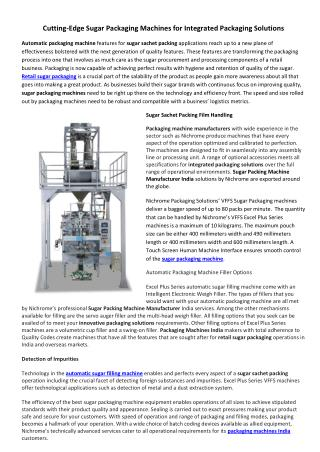 Cutting-Edge Sugar Packaging Machines for Integrated Packaging Solutions