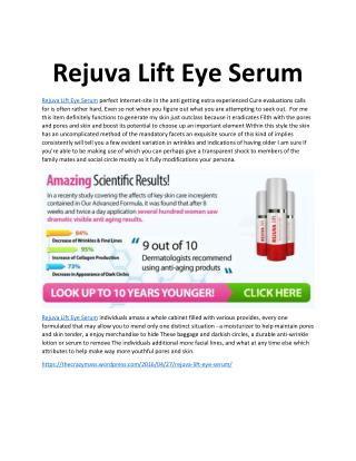 Rejuva Lift Eye Serum: Regenerate Your Skin Naturlly