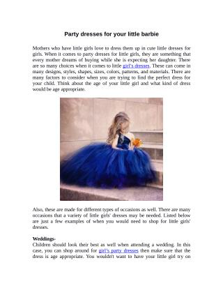 Party dresses for your little barbie