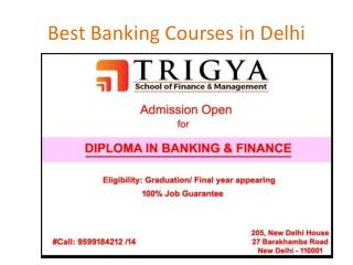 Banking & Finance Courses - 1 Yr Post Graduate Diploma‎