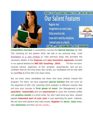 SSC Coaching for Tier-1 Exam of 2016 Session – Register for Fresh Batch Today