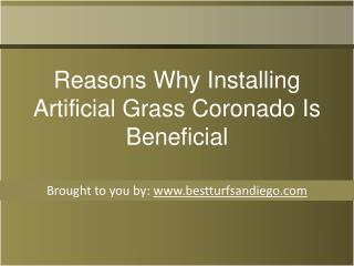 Reasons Why Installing Artificial Grass Coronado Is Beneficial