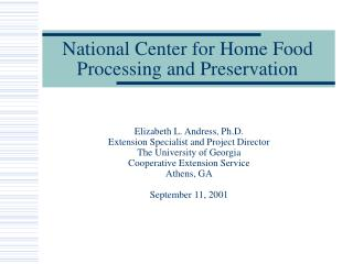 National Center for Home Food Processing and Preservation