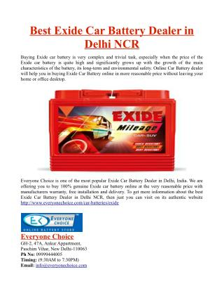 Best Exide Car Battery Dealer in Delhi NCR