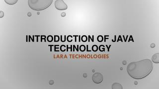 Introduction of Java Technology