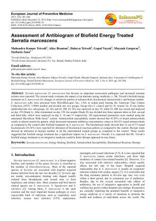 Assessment of Antibiogram of Biofield Energy Treated Serratia marcescens