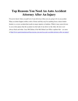 Top Reasons You Need An Auto Accident Attorney After An Injury