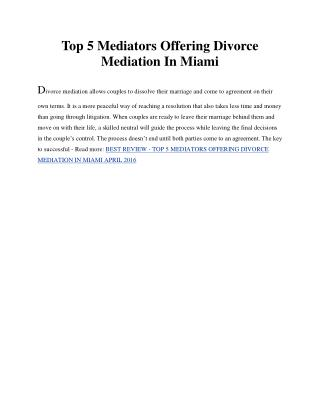 Top 5 Mediators Offering Divorce Mediation In Miami