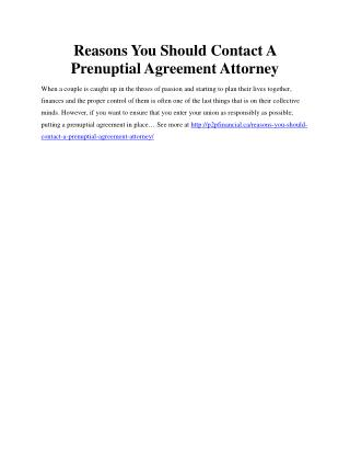 Reasons You Should Contact A Prenuptial Agreement Attorney