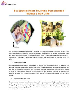 Six Special Heart Touching Personalized Mother�s Day Gifts!!