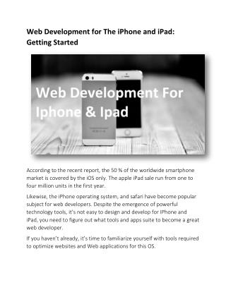 Web Development for The iPhone and iPad: Getting Started