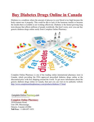 Buy Diabetes Drugs Online in Canada