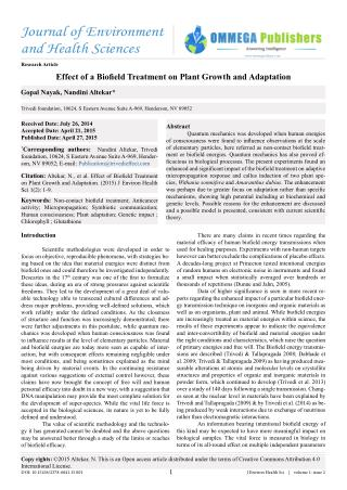 Effect of a Biofield Treatment on Plant Growth and Adaptation