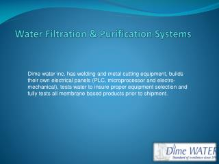 Water Filtration & Purification Systems