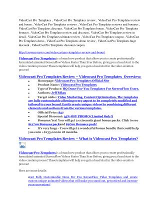 VideoCast Pro Templates review demo-- VideoCast Pro Templates FREE bonus