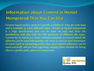 Information about Cement in Hemel Hempstead That You Can Use