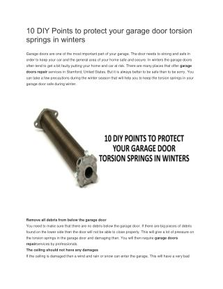 10 DIY Points to Protect Your Garage Door Torsion Springs in Winters
