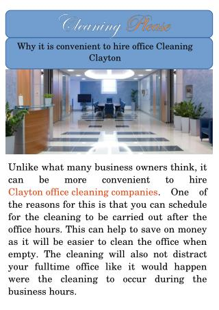 Clayton Office Cleaning Companies