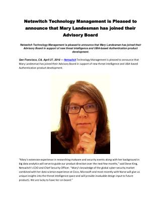 Netswitch Technology Management is Pleased to announce that Mary Landesman has joined their Advisory Board