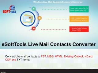 Convert Live Mail Contacts to Outlook With Live Mail Contacts Converter