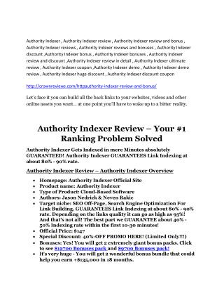 Authority Indexer review-- Authority Indexer (mega) $23,800 bonuses