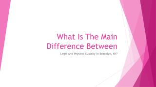 In Brooklyn What Differences Can You Find Between Legal and Physical Custody