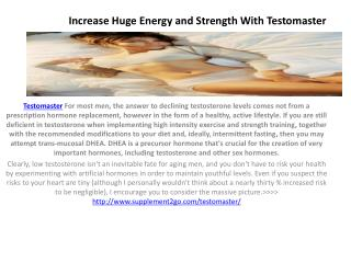 Increase Huge Energy and Strength With Testomaster