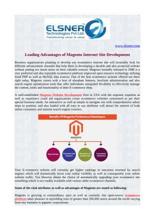 Leading Advantages of Magento Internet site Development