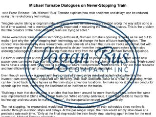 Michael Tornabe Dialogues on Never-Stopping Train