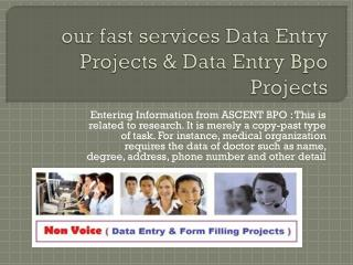 our fast services Data Entry Service Providers and Bpo Outsourcing Projects