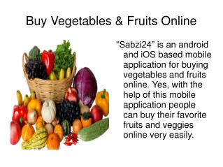 Buy Vegetables And Fruits Online