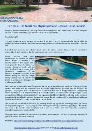 In Need of Top Notch Pool Repair Services? Consider These Factors!