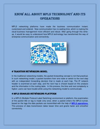 Know All About MPLS Technology and Its Operations