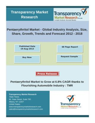 Pentaerythritol Market - Global Industry Analysis, Size, Share, Growth, Trends and Forecast 2012 � 2018