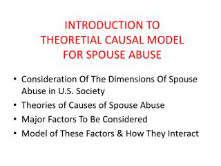 INTRODUCTION TO  THEORETIAL CAUSAL MODEL  FOR SPOUSE ABUSE