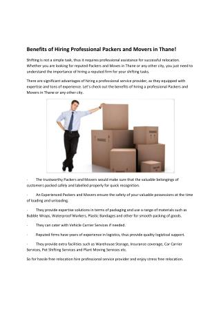 Benefits of Hiring Professional Packers and Movers in Thane!