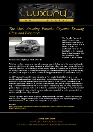 The Most Amazing Porsche Cayenne Exuding Class and Elegance!