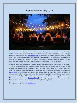 Significance of Wedding Lights