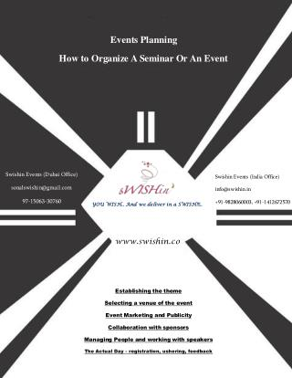 Events Planning How to Organize A Seminar Or An Event- sWISHin