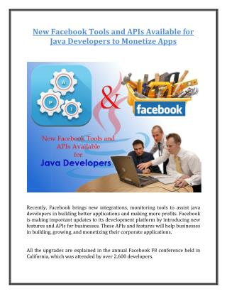 New Facebook Tools and APIs Available for Java Developers to Monetize Apps